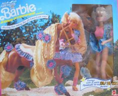 All American BARBIE DOLL with STAR STEPPER HORSE Set w 2 Pairs Reebok Hi Tops (1991) by Mattel. $299.99