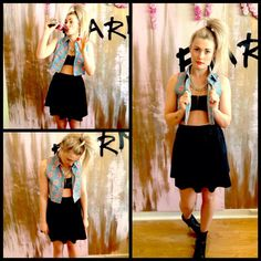 We love a bit of rock n roll, and our forty licks crop shirt with leather bandeau and leather skater! Crop Shirt, Grunge Outfits, Rolling Stones, Rock N Roll, Ballet Skirt, Skirts, Leather, Style, Fashion