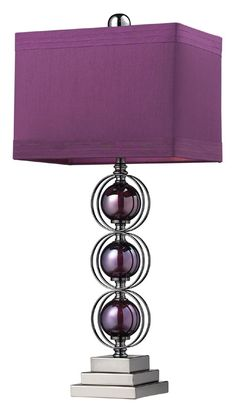Buy the Dimond Lighting Purple / Black Nickel Direct. Shop for the Dimond Lighting Purple / Black Nickel 1 Light Table Lamp from the Alva Collection and save. Purple Lamp Shade, Purple Table Lamp, Shades Of Purple, Purple And Black, Deep Purple, Gris Violet, Purple Bedrooms, Contemporary Table Lamps, Home Decor Bedroom