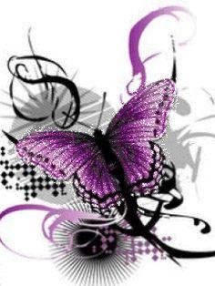 Purple butterfly ~ gif