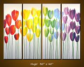 Items similar to Amy Giacomelli Rainbow Painting Triptych Large Flowers Abstract Modern Floral Garden .. red yellow blue green ...24 x 54 ... Fantasia on Etsy