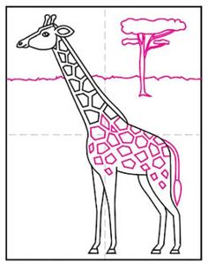 Giraffes Easy Art Projects, Drawing Projects, Projects For Kids, Easy Giraffe Drawing, Female Cow, Neck Pattern, Giraffes, Learn To Draw, Long Legs