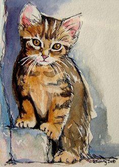 Sacha... cat art ACEO tabby kitten painting giclee print