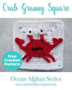 Crochet Crab Applique | Crochet Crab Granny Square | Free Crochet Pattern | Ocean/Sea Themed Afghan Series