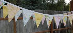 Sweet Vintage Sheets Pennant Banner  15' by jumpupanddown on Etsy, $25.00