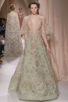 """""""La Nuit verte,"""" field of flowers colored cotton veil dress with pomegranate motif incrustations and intertwined linen and gold and opal flower cameo guipure."""