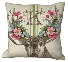 Grainsack Stripe Shabby and Chic Deer Spring Flowers Antlers Rustic Monogram  20x20 or 18x18 or 16x16 or 14x14 Inch Pillow Cover