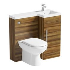 MySpace walnut right handed unit with Arte back to wall toilet Contemporary Bathroom Furniture, Contemporary Toilets, Compact Bathroom, Small Bathroom, Bathrooms, Bathroom Ideas, Toilet And Sink Unit, Concealed Cistern, Sink Units