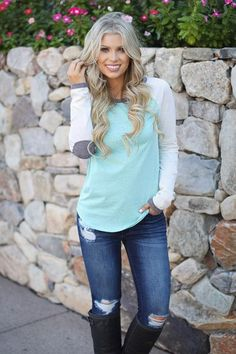 Make your day a little brighter with this adorable and comfy raglan top! Color block, long sleeve raglan top with mint body, ivory sleeves, and contrasting grey Cute Fashion, Fashion Outfits, Womens Fashion, Fall Outfits, Cute Outfits, Vegan Leather Jacket, Autumn Winter Fashion, Winter Style, Work Casual