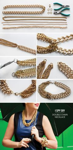 Double Chain Necklace #tutorial from I SPY DIY #jewelry #howto