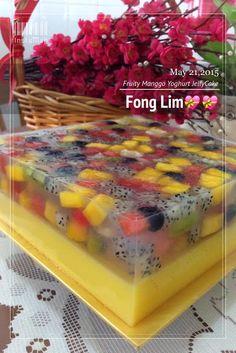Maple Grace Garden: ~~ Fruity Manggo Yoghurt Jelly C . Jelly Desserts, Fancy Desserts, Pudding Desserts, Köstliche Desserts, Asian Desserts, Delicious Desserts, Dessert Recipes, Thai Dessert, 3d Jelly Cake