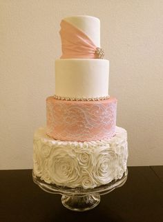 Tutorial to come!  http://caketalkblogger.blogspot.com/ Marshmallow fondant rosettes, fabric lace, and bridal jewlery.