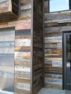 Reclaimed wood siding, I really like the look of this for exterior finishes. Gotta figure it will last awhile, likely lasted over a hundred years the first time around. Barn Siding, Wood Siding, Exterior Siding, Wood Cladding, House Siding, Into The Woods, Foto Picture, Reclaimed Barn Wood, Wood Pallets