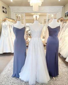 Blue bridesmaids dresses paired with tulle A line with tulle fabric and crystal beading embellishments at Lily Saratoga in New York. #bridesmaidsdresses #beaugown Silk Bridesmaid Dresses, Wedding Dresses With Straps, Blue Bridesmaids, Bridal Wedding Dresses, Dresses With Sleeves, Popular Wedding Dresses, Tulle Fabric, Dress Collection, Embellishments