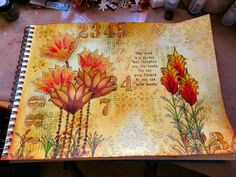 Journal page using Fresco Finish paints and Pan Pastels.