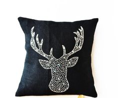 Deer Pillow Pillow Covers - Animal Motif Pillowcover with Stag Embroidered in Silver Sequin - Black Burlap Pillow Cover with Silver Sequin Embroidery -Moose Pillow - Silver Pillows- Christmas Decor Pillowcase (18 x 18) Amore Beaute http://www.amazon.com/dp/B00H0ZOLLC/ref=cm_sw_r_pi_dp_STMTtb18Q6KQ5CC5