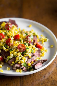 Grilled London Broil with Corn Salsa | Nutmeg Nanny
