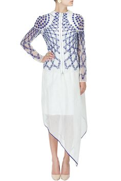 Off white embroidered silk organza sheer jacket by RAHUL MISHRA. Shop the designer now at: http://www.perniaspopupshop.com/designers-1/rahul-mishra  #perniaspopupshop #rahulmishra #collection #designer #shopnow #style #fashion #runway #update #chic