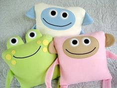 Monkey Sheep and Frog Pillows Epattern from SewBaby.com