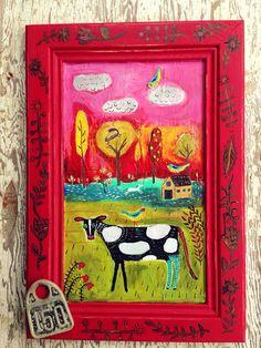Farmhouse Decor Wall Art Cow Painting on Etsy, $180.00