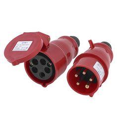 380-415V AC 16A IP44 3P+N+E IEC309-2 Round Pin Industrial Plug Socket Red