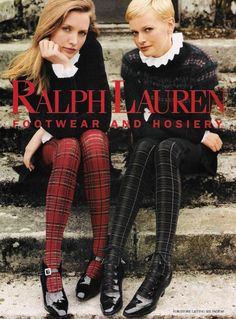 Touch of tartan.hosiery from Ralph Lauren Tartan Mode, Tartan Plaid, Preppy Mode, Preppy Style, Ralph Lauren Style, Ralph Lauren Shoes, Ralph Lauren Skirts, Plaid Tights, Plaid Stockings