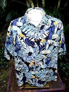 HAWAIIAN Aloha SHIRT L pit to pit 25 CARIBBEAN silk blend tropical birds jungle #SeeDescription #Hawaiian