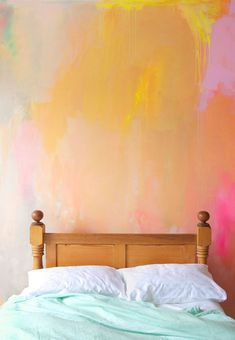 Bright, happy styled bedroom with painted abstract mural in earthy summer colors of peach, coral, yellow and pink, featuring mint bed linen and a messily styled bed. Bedroom Murals, Wall Murals, Bedroom Decor, My New Room, My Room, Casa Hipster, Bed Linen Design, Cool Beds, First Home