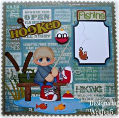 ELITE4U BOY FISHING LAYOUT paper piecing premade scrapbook page album WOLFFEY5 using Treasure Box Designs