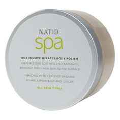 Buy Natio Spa One Minute Miracle Body Polish g Online Body Polish, Body Scrub, Scrubs, Spa, Stuff To Buy, Body Scrubs, Work Wear