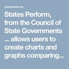 States Perform, from the Council of State Governments ... allows users to create charts and graphs comparing states' achievements (or lack thereof) in a variety of categories (education, public safety, economy, and more).