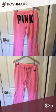 RARE Victoria's Secret Pink Campus sweats Barely worn vs pink sweats with pink dog on the front and PINK written on the butt. In vs class pink color PINK Victoria's Secret Pants Track Pants & Joggers