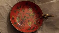 "Vintage Chinese Acrobats Porcelain Brass Bowl with Handle 5-1.2"" D"