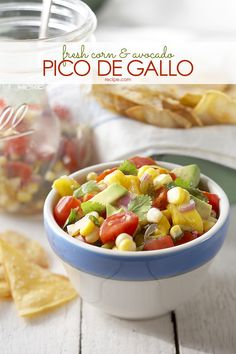 This fresh corn and avocado pico de gallo is a delicious recipe to try at your next party.