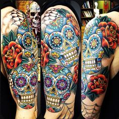 sugar-skull-arm-rj.bmp (612×612) Mexican Skull Tattoos, Skull Sleeve Tattoos, Sugar Skull Tattoos, Sugar Skull Design, Skull Tattoo Design, Tattoo Designs, Day Of The Dead Skull Tattoo, Sugar Skull Artwork, Tatoo