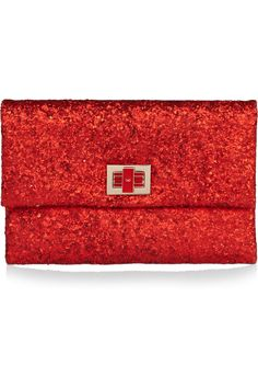 Red + Sparkles = Delicious!  Anya Hindmarch Valorie glitter-finish leather clutch $550.. Thanks to interior designer extraordinaire  @Susanna Kost for introducing me to Anya Hindmarch.