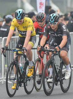 Michal Kwiatkowski and Christopher FROOME from Team SKY with Nicolas Roche  from BMC Team in action in front of the peloton during the TDF. 56d086704