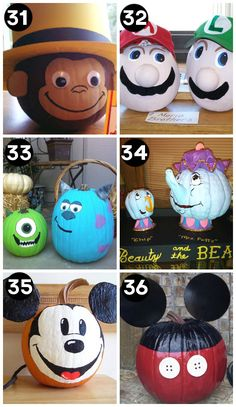 150 Pumpkin Decorating Ideas - Fun Pumpkin Designs for Halloween - - A huge collection of the BEST creative pumpkin decorating ideas for Halloween! Including 60 creative pumpkin carving ideas AND 90 no-carve pumpkin ideas. Halloween Pumpkin Designs, Theme Halloween, Holidays Halloween, Halloween Crafts, Holiday Crafts, Holiday Fun, Halloween Pumpkin Decorations, Pumkin Designs, Pumkin Decoration