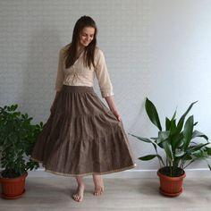 2203cc6122a Linen boho skirt with pocket - Broun tiered skirt - Midi linen skirt