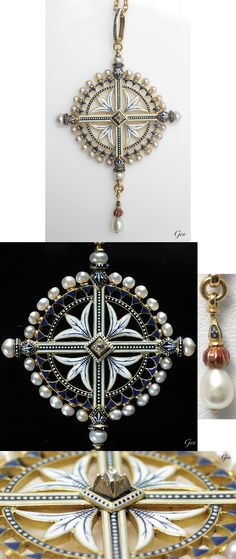 Renaissance-revival enamel, pearl and diamond pendant, by Carlo Giuliano (1831-1895), ca. 1880, 5.7 × 3.3cm, 7.6g, antique gold chain 41.5cm. with case