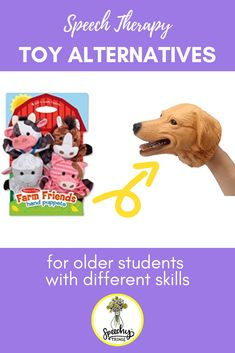 Check out this blog post for some SLP inspiration! These speech therapy toy alternatives are age-appropriate for older students with  Down syndrome, Autism, and other disabilities. #speechythings #speechtherapy #slpeeps #autism #downsyndrome