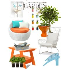 Give your garden Colour by chanlee-luv on Polyvore featuring polyvore interior interiors interior design home home decor interior decorating Palecek Steel | Lark Jonathan Adler Nearly Natural Boskke Pacific Coast Loll Designs