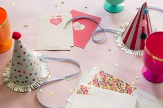 Summer parties call for festive colors - pair them with party hats, glasses, invitations and thank you cards.