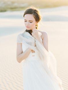 Dreamy desert bridal inspiration: http://www.stylemepretty.com/2016/05/12/sand-dunes-wedding-inspiration/   Photography: Tenth & Grace - http://www.tenthandgrace.com/