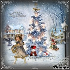 vintage christmas scenes   Vintage christmas , scene Winter . Did5dd Picture #127209952   Blingee ...