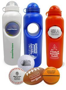 "Water bottle holds up to 30 fluid ounces and features a removable cap for easy cleaning. Available in 3 colors with your choice of 19 stress balls. 2 products for the price of one! Please specify combinations when ordering - heart & hockey puck not available. Theme balls include: Baseball, Tennis, Soccer, Volleyball, Golf, Football, Basketball, Globe, Beach Ball. Complies with CPSIA. 10"" H x 3"" Diameter"