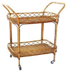 Midcentury Bamboo & Rattan Bar Cart $595.00