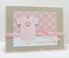 32 Ideas Baby Cards Handmade Easy Stampin Up Baby Girl Cards, New Baby Cards, Handgemachtes Baby, Baby Onesie, Stampin Up, Tarjetas Diy, Baby Shower Invitaciones, Stamping Up Cards, Marianne Design