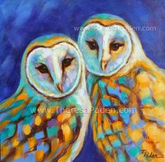 Daily Painters Abstract Gallery: Wildlife Barn Owl Painting by Theresa Paden