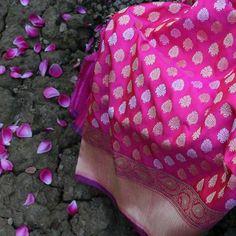 Red-Gulabi Pink Pure Katan Silk Banarasi Handloom Saree